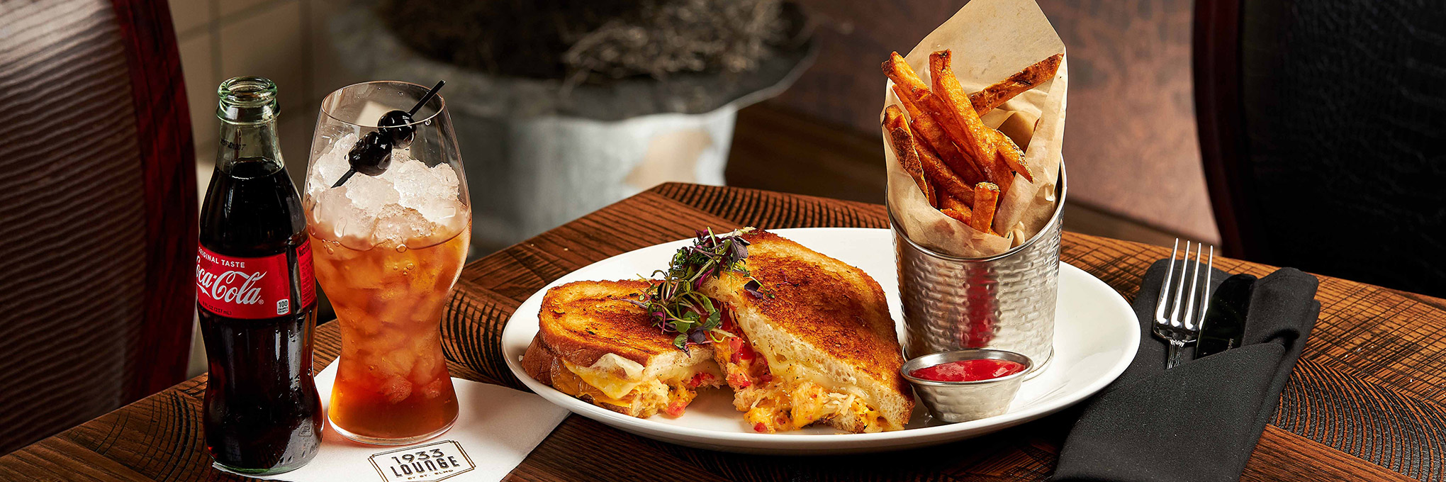 King Crab Grilled Cheese at 1933 Lounge